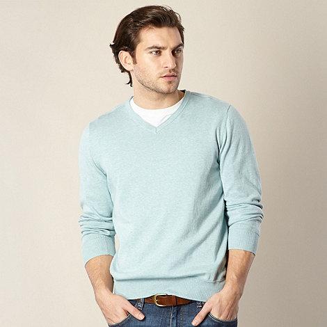 RJR.John Rocha - Big and tall designer aqua cotton jumper