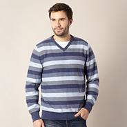 Big and tall designer blue striped jumper
