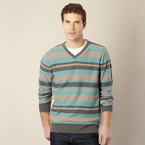 RJR.John Rocha - Designer aqua +Alexander+ striped V neck jumper