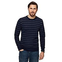 RJR.John Rocha - Big and tall navy striped tuck stitch jumper