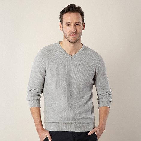 RJR.John Rocha - Big and tall designer light grey +Louis+ textured jumper