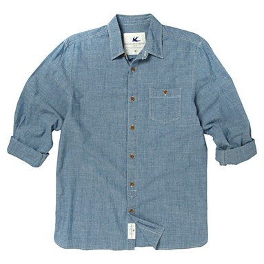 Blue chambray roll-up sleeve shirt