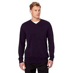 RJR.John Rocha - Big and tall designer dark purple plain V neck jumper