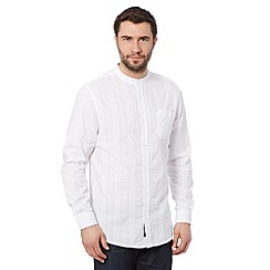 RJR.John Rocha - Big and tall designer white long sleeved striped grandad shirt