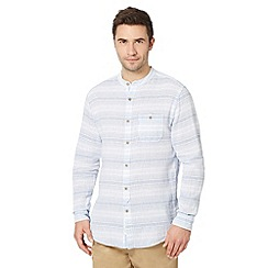 RJR.John Rocha - Big and tall designer light blue horizontal striped grandad shirt