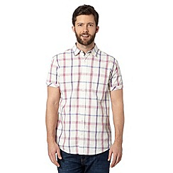 RJR.John Rocha - Designer dark pink textured checked short sleeved shirt