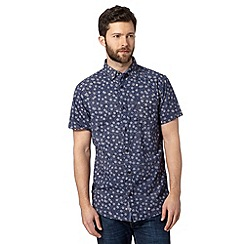 RJR.John Rocha - Big and tall designer navy hexagon floral short sleeved shirt