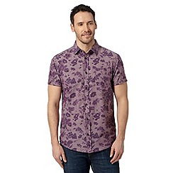 RJR.John Rocha - Big and tall designer purple big rose print shirt
