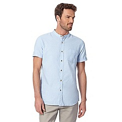 RJR.John Rocha - Big and tall designer light blue linen blend textured grandad neck shirt
