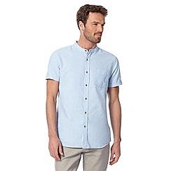RJR.John Rocha - Big and tall designer light blue linen blend textured grandad neck shirt