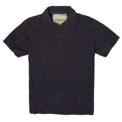 Navy slub polo shirt