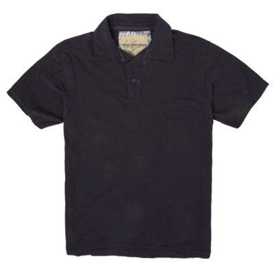 Navy slub polo shirt