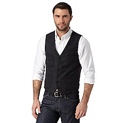 RJR.John Rocha - Big and tall designer black checked wool blend waistcoat