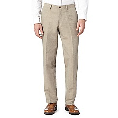 RJR.John Rocha - Designer natural herringbone linen blend trousers