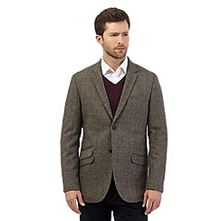 RJR.John Rocha - Big and tall designer brown wool blend herringbone blazer