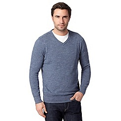 RJR.John Rocha - Big and tall designer blue fine striped V neck knit