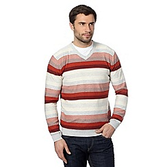RJR.John Rocha - Big and tall designer red variegated striped jumper