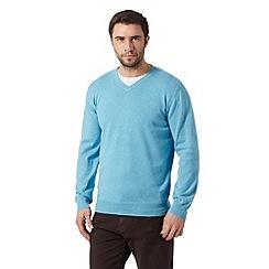 RJR.John Rocha - Big and tall designer blue plain knitted jumper