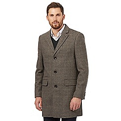 RJR.John Rocha - Big and tall brown herringbone wool blend epsom coat