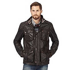 RJR.John Rocha - Big and tall brown leather quilted jacket