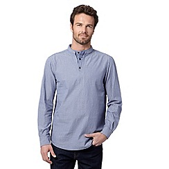 RJR.John Rocha - Big and tall designer blue striped long sleeve kaftan shirt