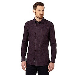 RJR.John Rocha - Purple textured chenille striped shirt