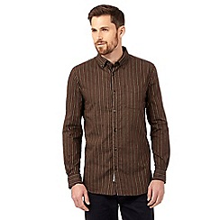 RJR.John Rocha - Brown textured chenille striped shirt