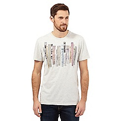 RJR.John Rocha - Big and tall natural written striped crew neck t-shirt