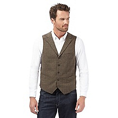 RJR.John Rocha - Big and tall designer brown herringbone tweed waistcoat