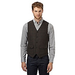 RJR.John Rocha - Big and tall dark green checked tweed waistcoat