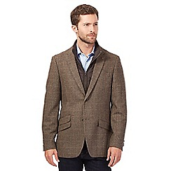 RJR.John Rocha - Big and tall brown herringbone mock 2-in-1 gilet blazer