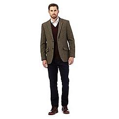 RJR.John Rocha - Big and tall green harris tweed single breasted coat