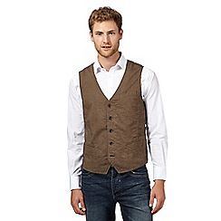 RJR.John Rocha - Big and tall designer brown herringbone waistcoat