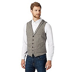 RJR.John Rocha - Big and tall designer light grey linen blend waistcoat