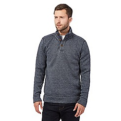 RJR.John Rocha - Big and tall blue buttoned baseball sweater