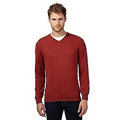 RJR.John Rocha - Big and tall designer orange knitted v neck jumper