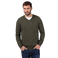 RJR.John Rocha - Big and tall designer green knitted v neck jumper