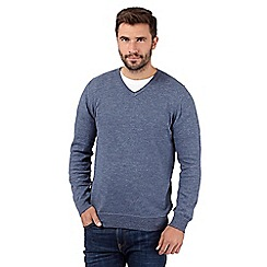 RJR.John Rocha - Big and tall designer blue knitted v neck jumper