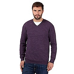RJR.John Rocha - Big and tall designer dark purple knitted v neck jumper