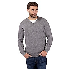 RJR.John Rocha - Big and tall designer light grey knitted v neck jumper