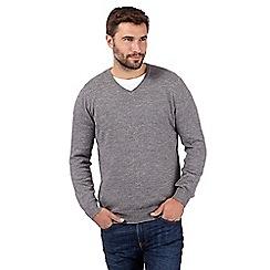RJR.John Rocha - Big and tall designer light grey knitted v neck jumper