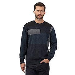 RJR.John Rocha - Big and tall blue block striped jumper