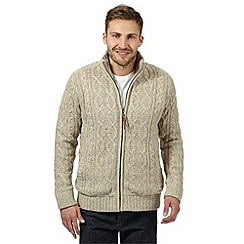 RJR.John Rocha - Big and tall designer natural cable fleece lined knitted jacket