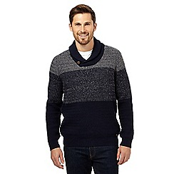 RJR.John Rocha - Blue shawl neck wool-blend jumper