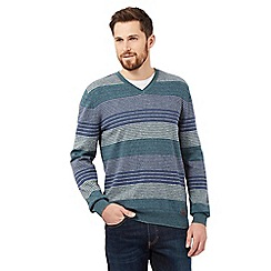 RJR.John Rocha - Big and tall green striped V neck jumper