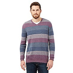 RJR.John Rocha - Big and tall purple striped v neck jumper