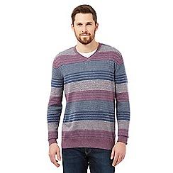 RJR.John Rocha - Purple striped V neck jumper