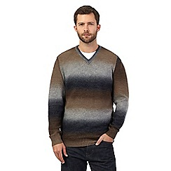 RJR.John Rocha - Brown ombre-effect block striped jumper