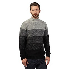 RJR.John Rocha - Big and tall black striped turtle neck jumper