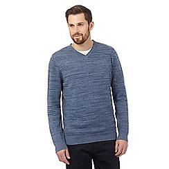 RJR.John Rocha - Big and tall light blue striped v neck jumper